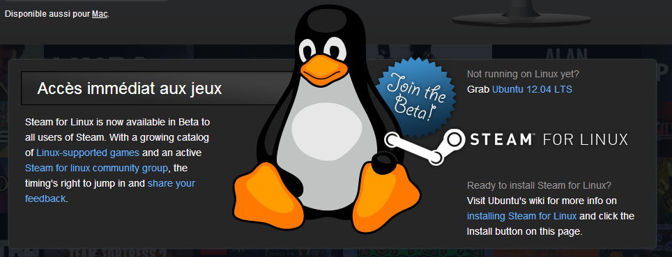 Steam sur linux, déjà 39 jeux disponibles