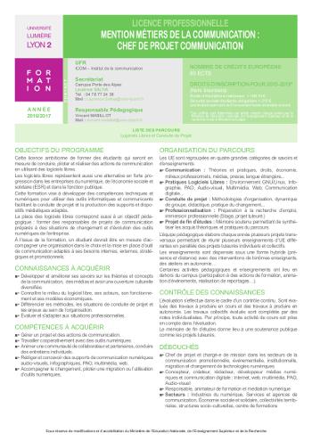 Métiers de la communication : La licence pro CoLibre nouvelle formule, nouvelle fiche SCUIO