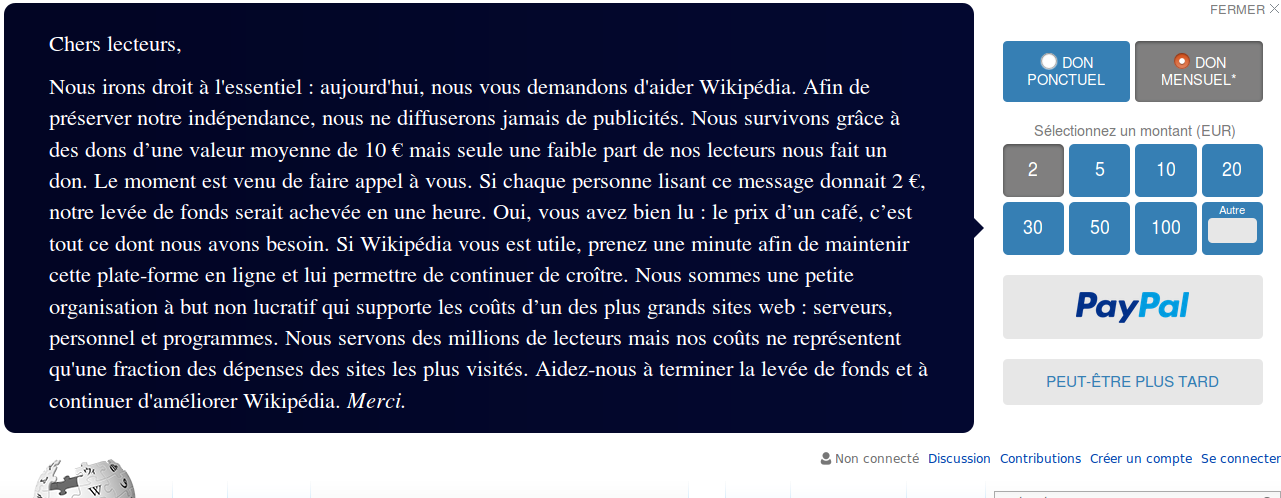 Wikipédia appel aux dons!