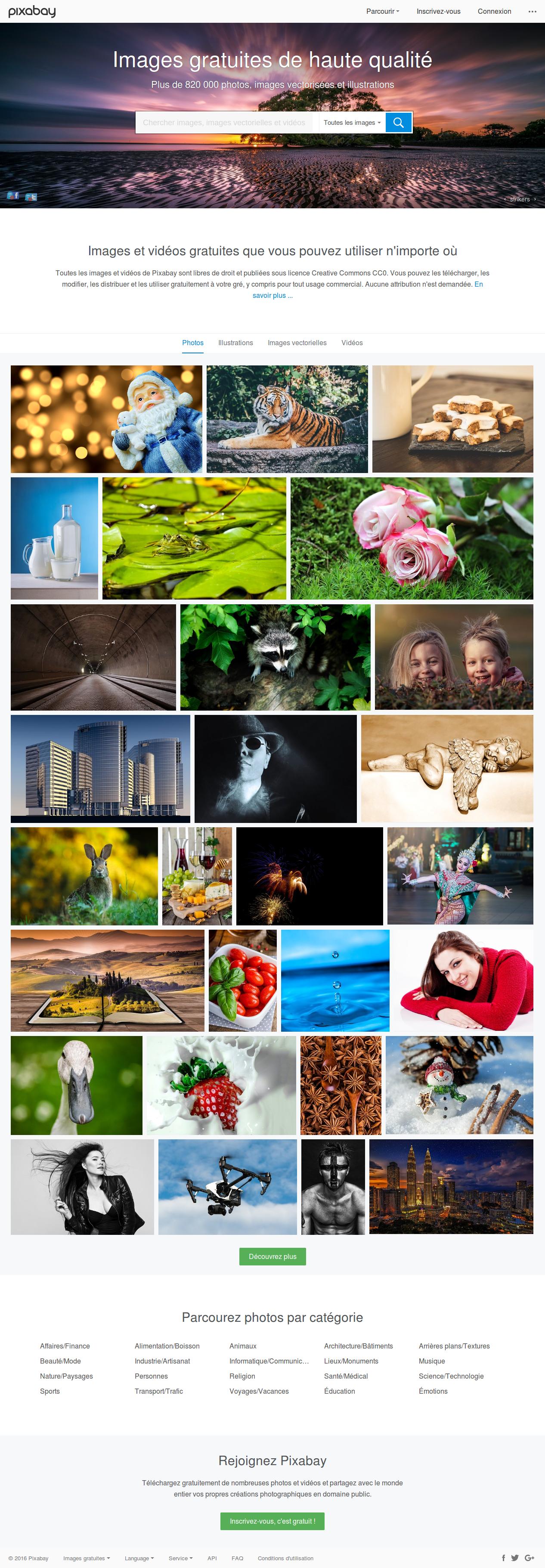 Page d'accueil complète de Pixabay