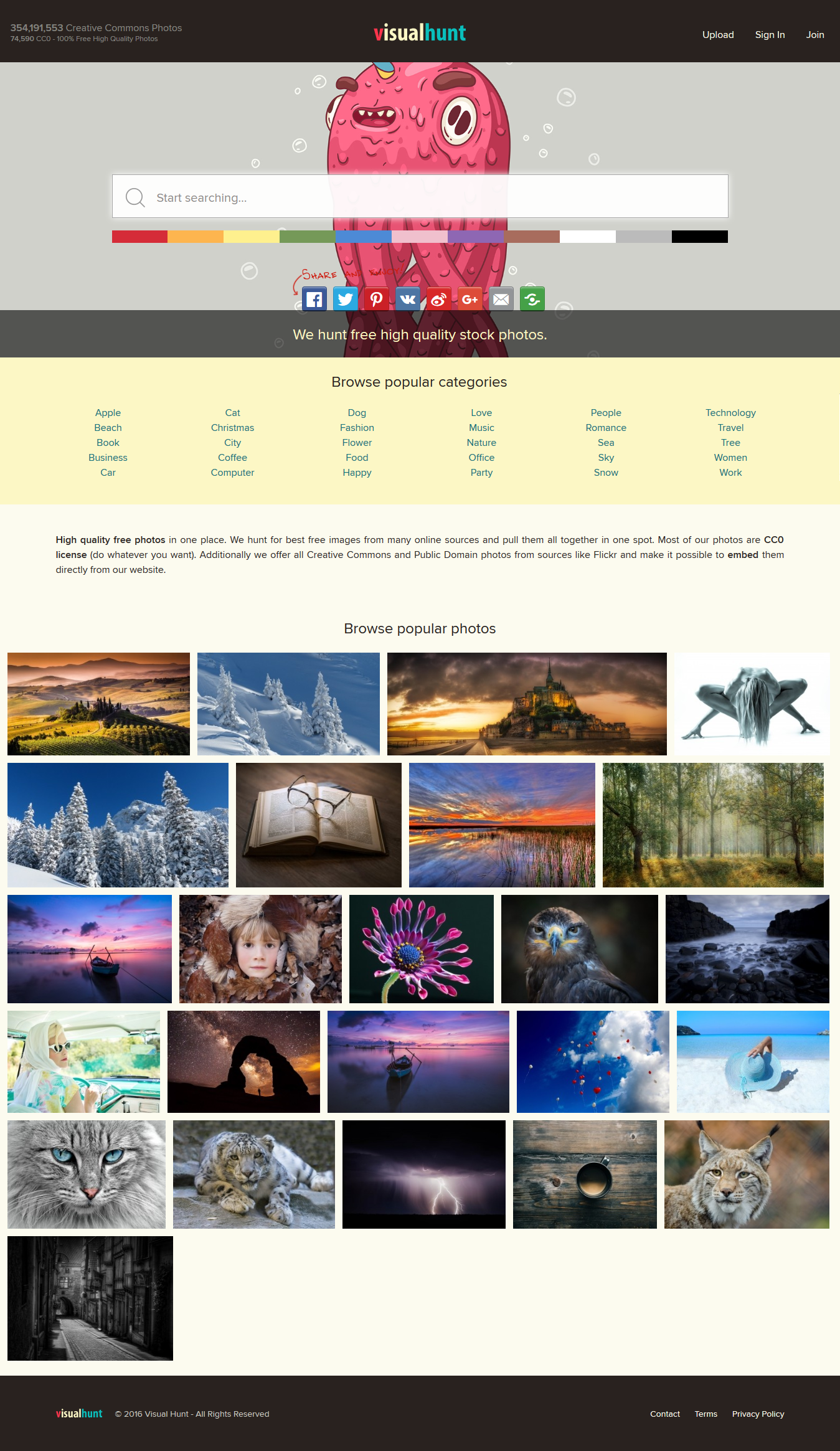 Page d'accueil de VisualHunt.com en entier