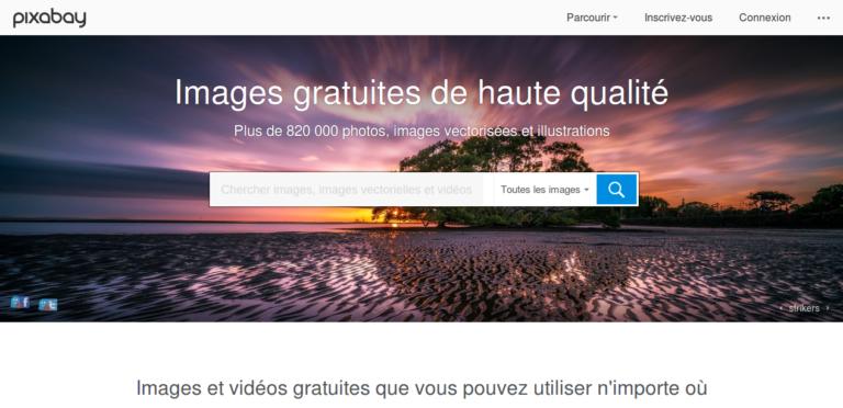 Haut de la page d'accueil de Pixabay