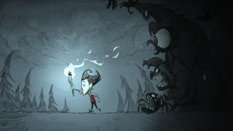 Description de jeuxvidéo.com: «Don't Starve est un jeu de survie indépendant se déroulant dans un monde sombre et sans pitié. Votre but sera d'utiliser votre environnement à votre avantage en construisant un camp pour survivre le plus longtemps possible.»