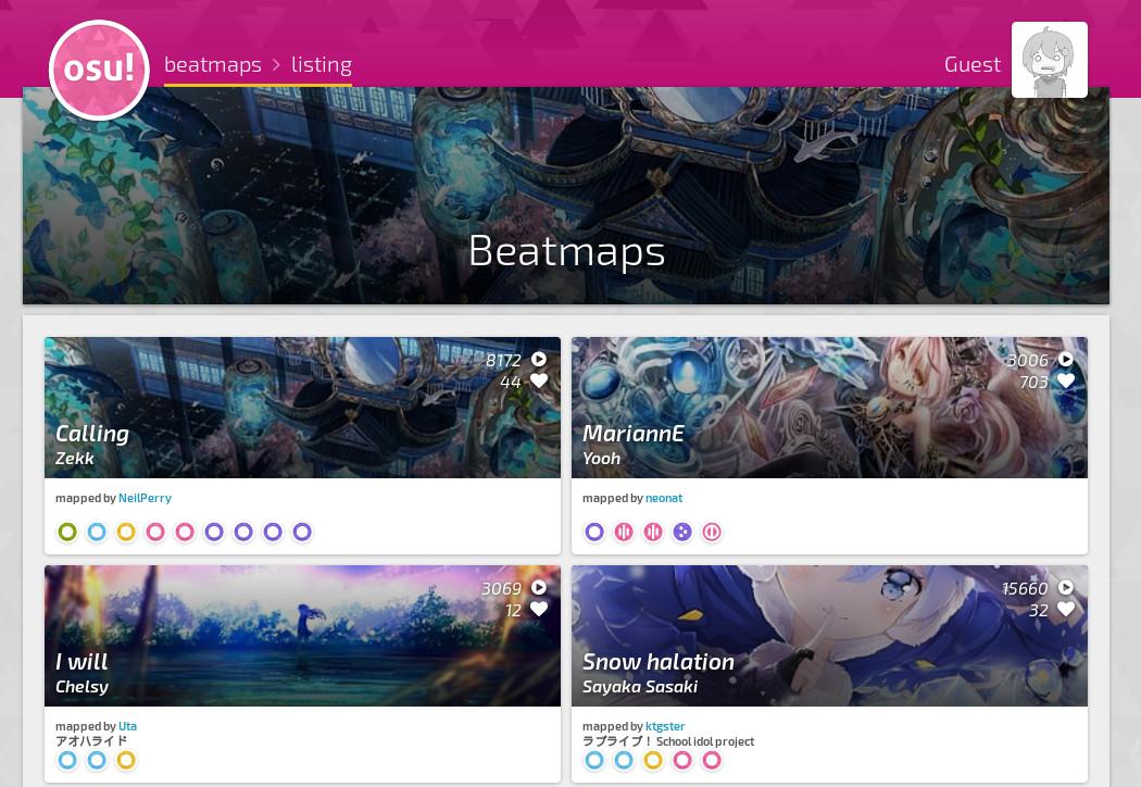 Page de téléchargement des beatmaps