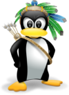 dessin représentant linux sous la forme du pingouin fièrement paré de plumes, d'un arc et de flêches