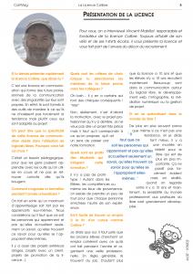 """Article """"Présentation de la licence"""""""