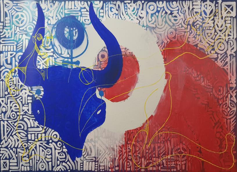 Tableau de Khwezi figurant un GNU tricolore ?